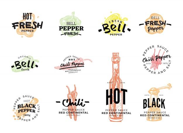 Conjunto de logotipo de pimenta