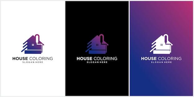 Conjunto de logotipo de pintura de casa, logotipo de cor da casa, logotipo de imóveis com casas coloridas, logotipo de pintura de logotipo de loja de pintura de casa colorida moderna, casa, casa, modelo de vetor colorido
