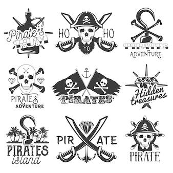 Conjunto de logotipo de piratas