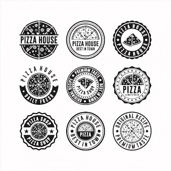 Conjunto de logotipo de pizza