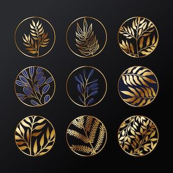 Conjunto de logotipo de planta botânica ouro elegante.