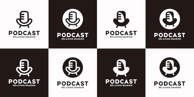 Conjunto de logotipo de podcast com conceito de cadeira e microfone, logotipo de referência