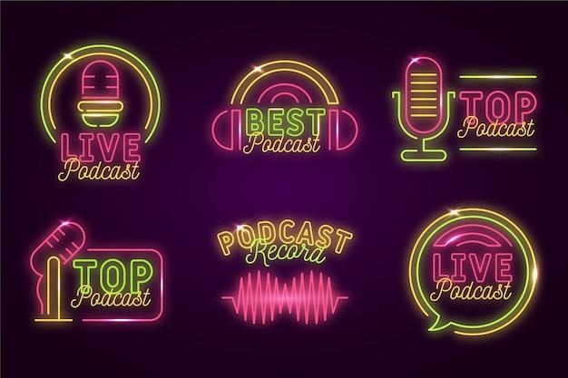 Conjunto de logotipo de podcast de luzes de néon