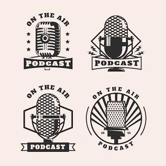Conjunto de logotipo de podcast vintage