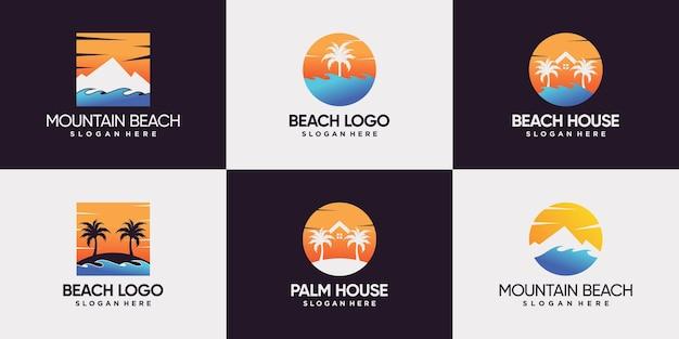 Conjunto de logotipo de praia com casa de sol da montanha e design de logotipo de palmeira premium vector