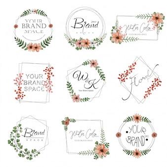 Conjunto de logotipo de premade floral aquarela.