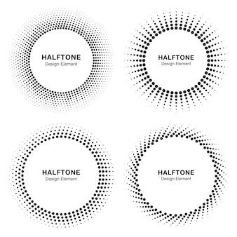 Conjunto de logotipo de quadro de círculo de meio-tom abstrato preto,