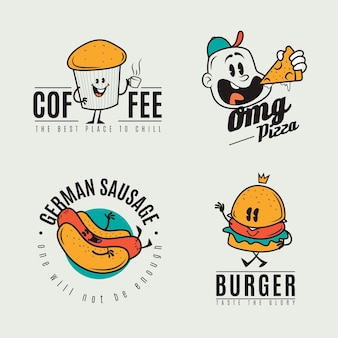 Conjunto de logotipo de restaurante de desenho retrô Vetor grátis