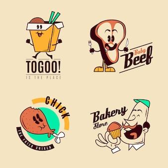 Conjunto de logotipo de restaurante de desenho retrô