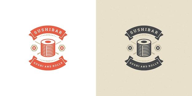 Conjunto de logotipo de restaurante japonês e sushi
