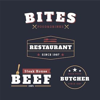 Conjunto de logotipo de restaurante retrô