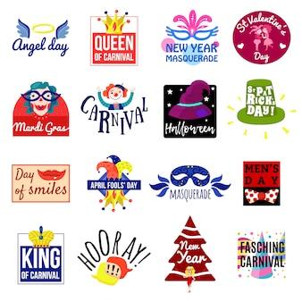 Conjunto de logotipo de rótulo de emblema de carnaval