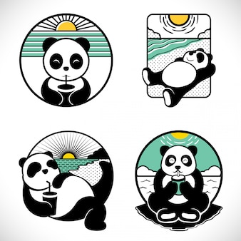 Conjunto de logotipo de rótulo de panda
