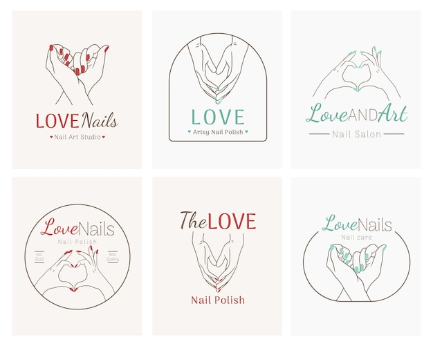 Conjunto de logotipo de salão de beleza de nail art