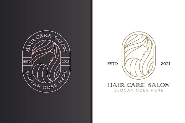 Conjunto de logotipo de salão de beleza e cabeleireiro feminino, estilo de linha de arte de logotipo de cabelo comprido de beleza
