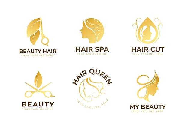 Conjunto de logotipo de salão de cabeleireiro de luxo