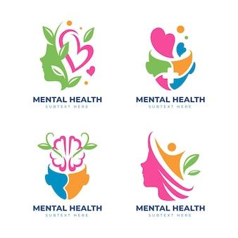 Conjunto de logotipo de saúde mental plana