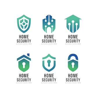Conjunto de logotipo de segurança de casa inteligente de escudo