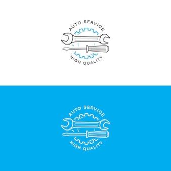 Conjunto de logotipo de serviço automotivo com engrenagem