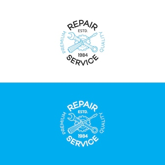 Conjunto de logotipo de serviço de reparo com engrenagem