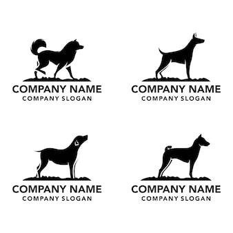 Conjunto de logotipo de silhueta de cachorro