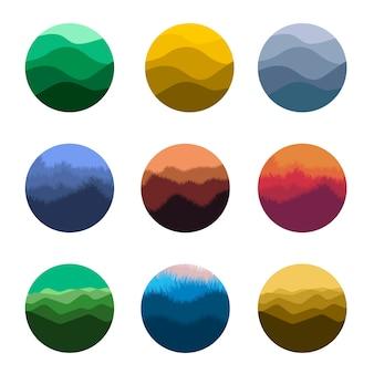 Conjunto de logotipo de silhuetas de natureza selvagem isolado abstrato colorido de forma redonda.