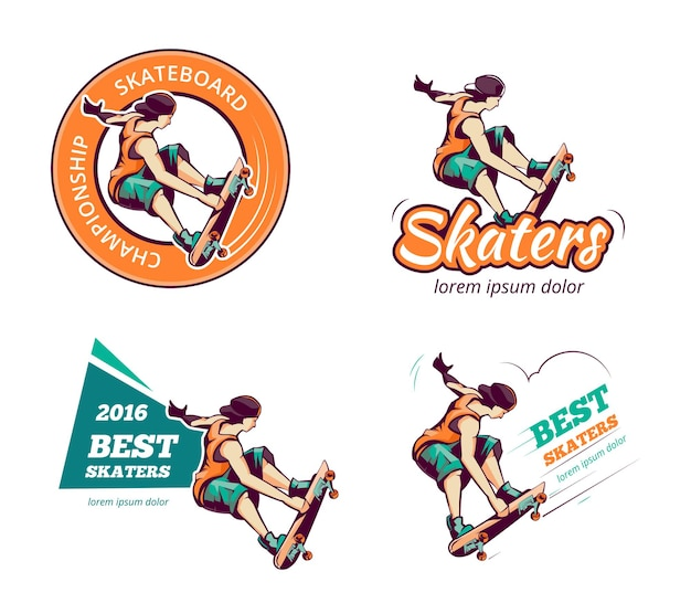 Conjunto de logotipo de skate em cor vintage