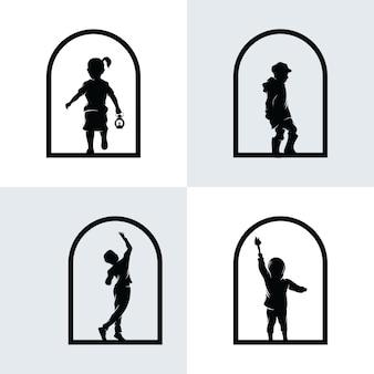 Conjunto de logotipo de sonhos infantis
