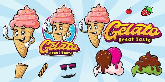 Conjunto de logotipo de sorvete de desenho animado feliz