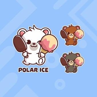 Conjunto de logotipo de sorvete de urso polar fofo com aparência opcional. kawaii