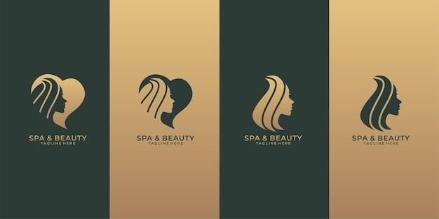 Conjunto de logotipo de spa e beleza