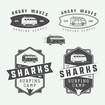 Conjunto de logotipo de surf