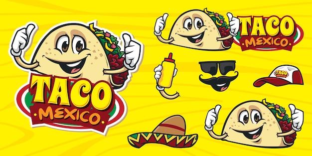 Conjunto de logotipo de taco de desenho animado feliz