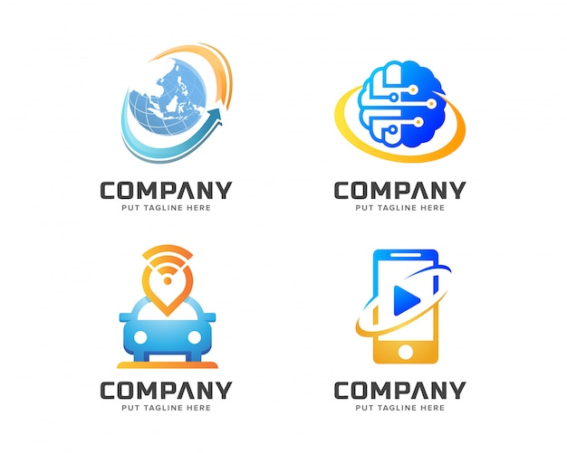 Conjunto de logotipo de tecnologia criativa