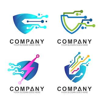 Conjunto de logotipo de tecnologia de escudo