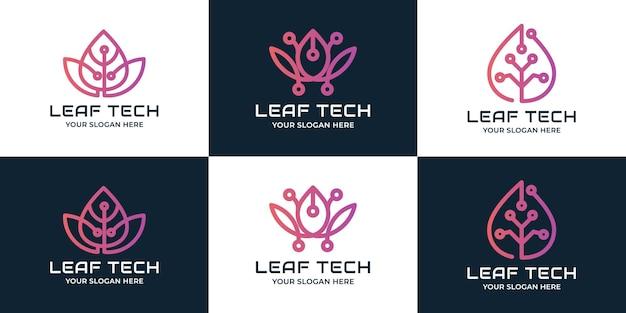 Conjunto de logotipo de tecnologia de folha de beleza simples
