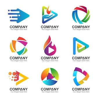 Conjunto de logotipo de tecnologia digital de botão e seta abstrato