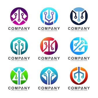 Conjunto de logotipo de tecnologia e inovação de ícones digitais