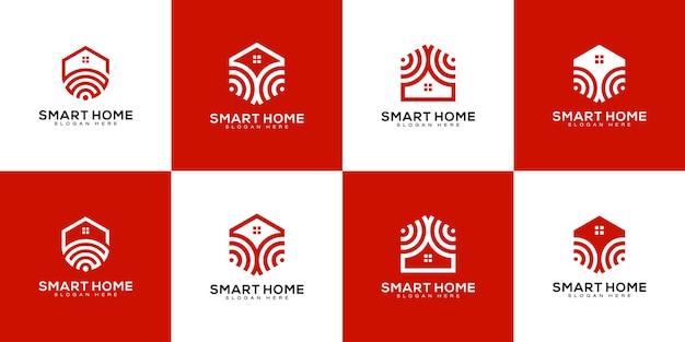 Conjunto de logotipo de tecnologia para casa inteligente