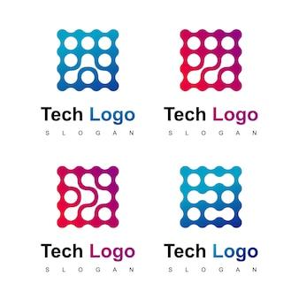 Conjunto de logotipo de tecnologia