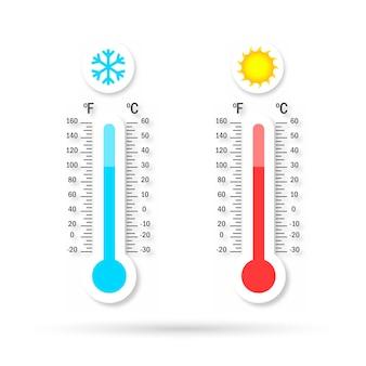 Conjunto de logotipo de temperatura com sombra.