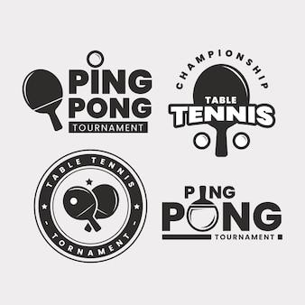 Conjunto de logotipo de tênis de mesa