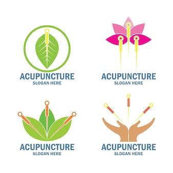 Conjunto de logotipo de terapia de acupuntura