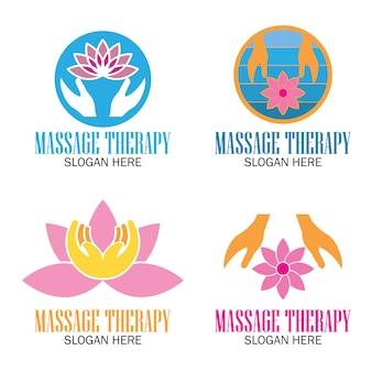 Conjunto de logotipo de terapia de massagem
