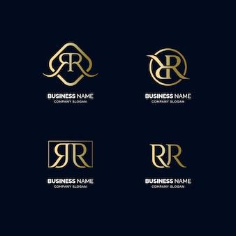 Conjunto de logotipo de texto de luxo r