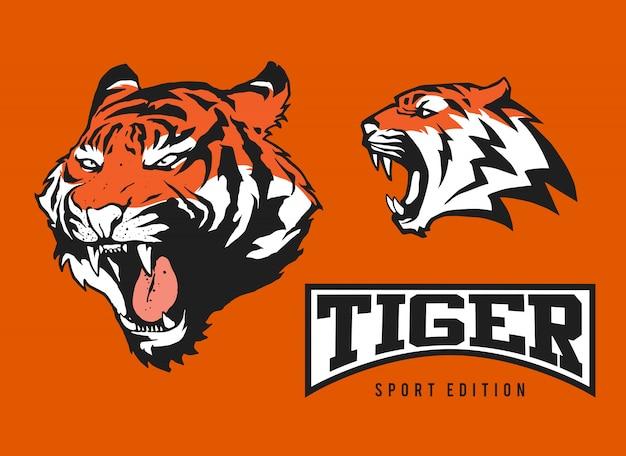 Conjunto de logotipo de tigre