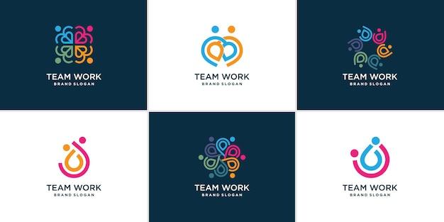Conjunto de logotipo de trabalho em equipe premium vector