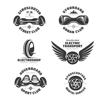 Conjunto de logotipo de transporte elétrico gyroscooter. ilustração em vetor vintage.
