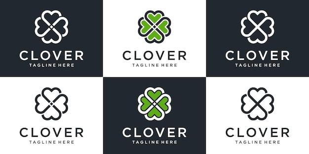 Conjunto de logotipo de trevo abstrato criativo com coleção de design de arte de linha.