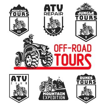 Conjunto de logotipo de veículo atv e emblemas 4x4 ilustração quad
